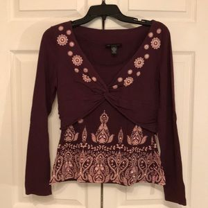 Long-sleeved, plum-colored INC top, size M